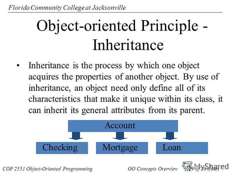Florida Community College at Jacksonville Object-oriented Principle - Inheritance Inheritance is the process by which one object acquires the properties of another object. By use of inheritance, an object need only define all of its characteristics t