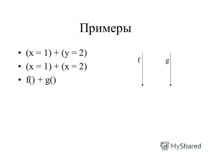 Примеры (x = 1) + (y = 2) (x = 1) + (x = 2) f() + g() fg