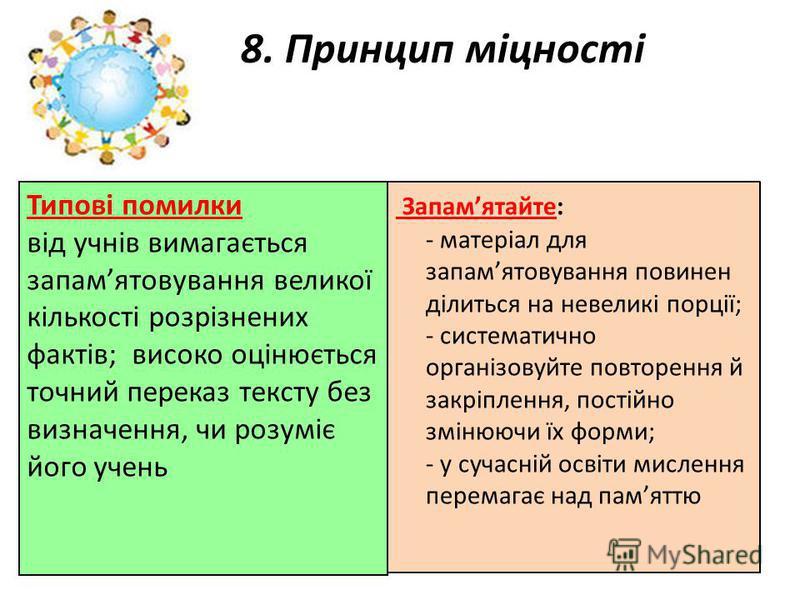 8. Принцип міцності Запамятайте: - матеріал для запамятовування повинен ділиться на невеликі порції; - систематично організовуйте повторення й закріплення, постійно змінюючи їх форми; - у сучасній освіти мислення перемагає над памяттю Типові помилки