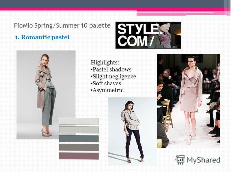 FioMio Spring/Summer 10 palette 1. Romantic pastel Highlights: Pastel shadows Slight negligence Soft shaves Asymmetric