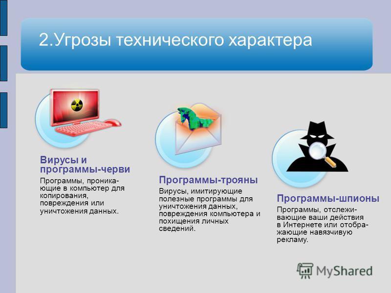 Вирусы и программы-черви Программы, проникающие в компьютер для копирования, повреждения или уничтожения данных. Программы-трояны Вирусы, имитирующие полезные программы для уничтожения данных, повреждения компьютера и похищения личных сведений. Прогр