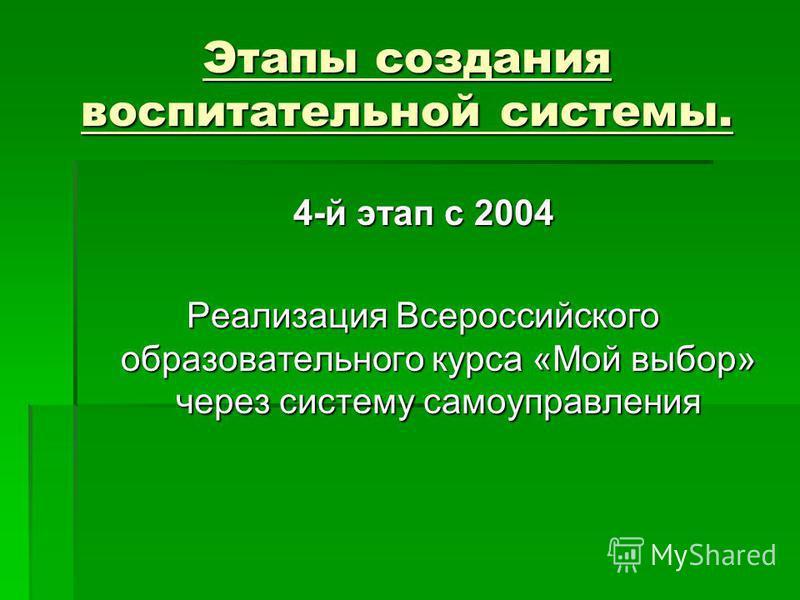 Этапы создания воспитательной системы. 4-й этап с 2004 Реализация Всероссийского образовательного курса «Мой выбор» через систему самоуправления