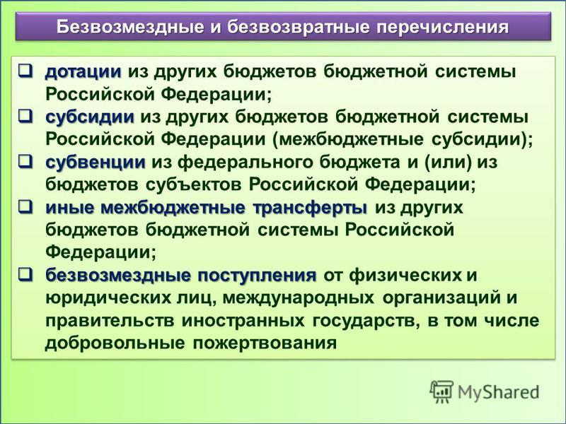 Безвозмездные и безвозвратные перечисления дотации дотации из других бюджетов бюджетной системы Российской Федерации; субсидии субсидии из других бюджетов бюджетной системы Российской Федерации (межбюджетные субсидии); субвенции субвенции из федераль