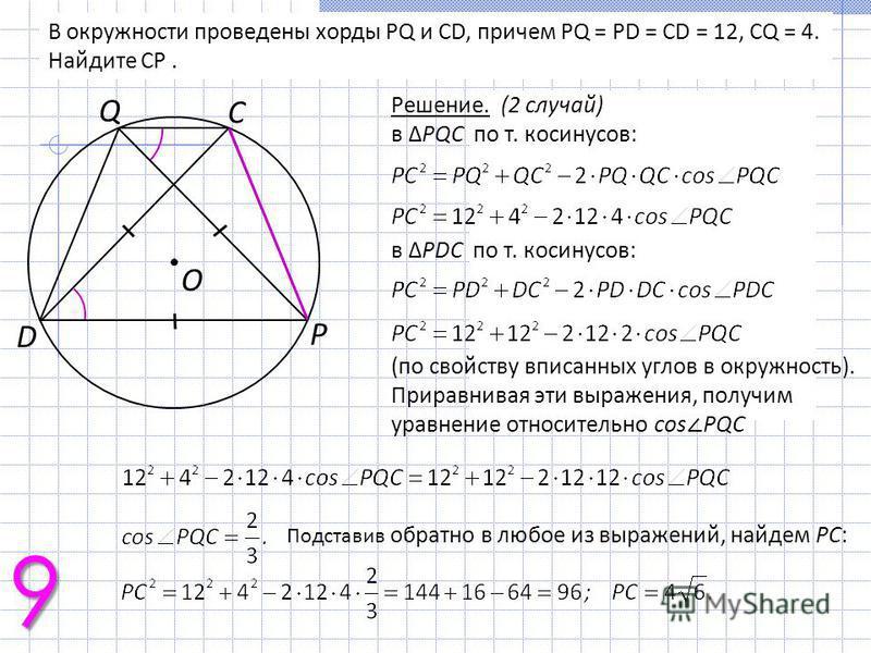 В окружности проведены хорды PQ и CD, причем PQ = PD = CD = 12, CQ = 4. Найдите CP. Решение. (2 случай) в PQC по т. косинусов: в PDC по т. косинусов: (по свойству вписанных углов в окружность). Приравнивая эти выражения, получим уравнение относительн
