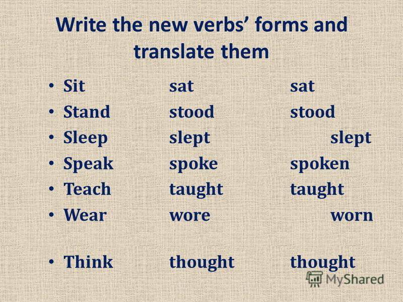 Write the new verbs forms and translate them Sit satsat Standstoodstood Sleepsleptslept Speakspokespoken Teachtaughttaught Wearworeworn Thinkthoughtthought