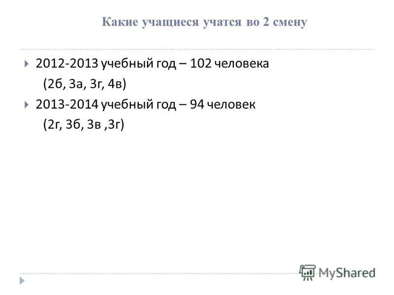 Какие учащиеся учатся во 2 смену 2012-2013 учебный год – 102 человека (2 б, 3 а, 3 г, 4 в ) 2013-2014 учебный год – 94 человек (2 г, 3 б, 3 в,3 г )