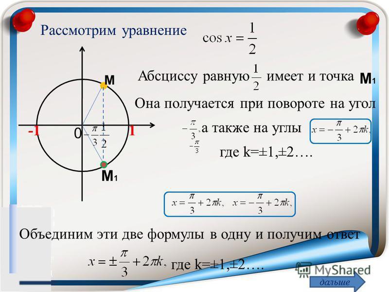 Рассмотрим уравнение 1 Абсциссу равную имеет и точка M1M1 дальше Она получается при повороте на угол 0 M M1M1 а также на углы где k=±1,±2…. Объединим эти две формулы в одну и получим ответ где k=±1,±2…. -1