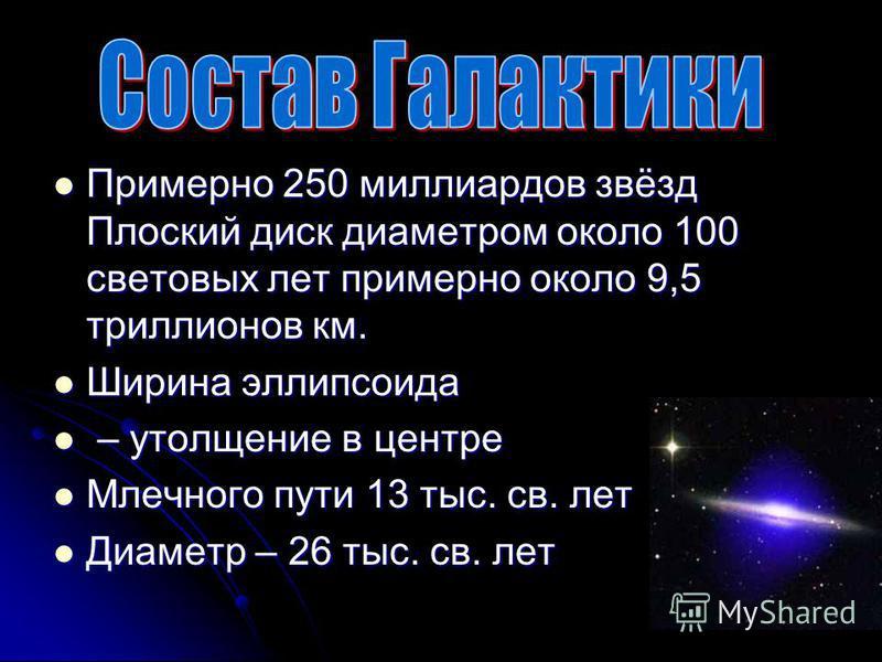Примерно 250 миллиардов звёзд Плоский диск диаметром около 100 световых лет примерно около 9,5 триллионов км. Примерно 250 миллиардов звёзд Плоский диск диаметром около 100 световых лет примерно около 9,5 триллионов км. Ширина эллипсоида Ширина эллип