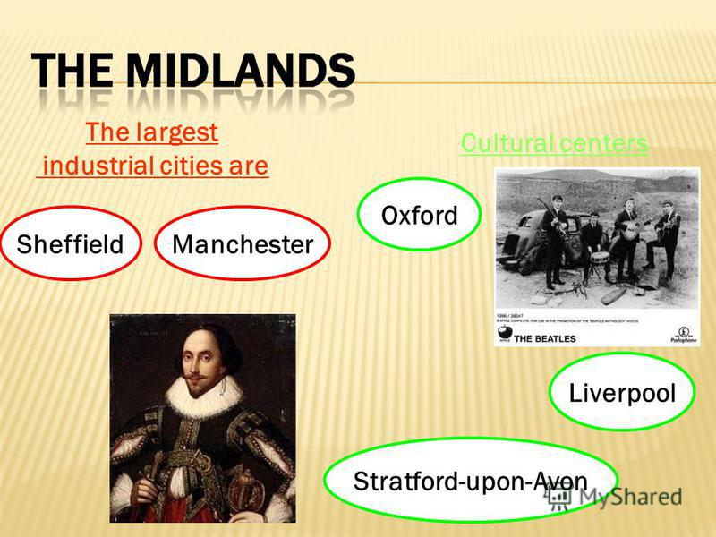 The largest industrial cities are SheffieldManchester Cultural centers Oxford Liverpool Stratford-upon-Avon