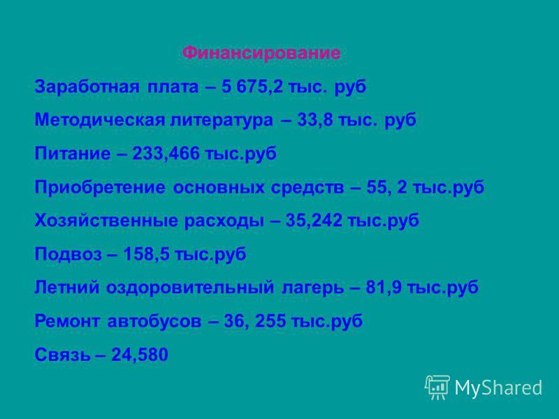 Финансирование Заработная плата – 5 675,2 тыс. руб Методическая литература – 33,8 тыс. руб Питание – 233,466 тыс.руб Приобретение основных средств – 55, 2 тыс.руб Хозяйственные расходы – 35,242 тыс.руб Подвоз – 158,5 тыс.руб Летний оздоровительный ла