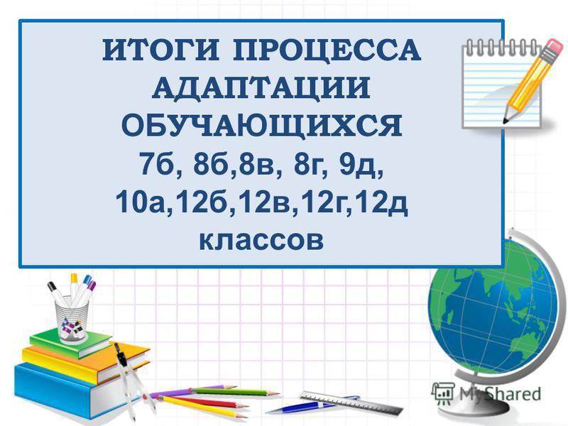 ИТОГИ ПРОЦЕССА АДАПТАЦИИ ОБ УЧА Ю ЩИХСЯ 7 б, 8 б,8 в, 8 г, 9 д, 10 а,12 б,12 в,12 г,12 д классов