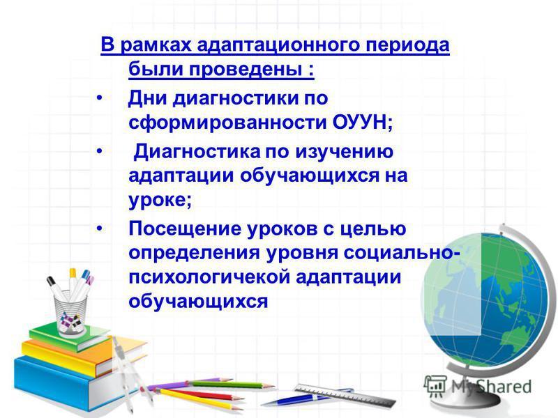 В рамках адаптационного периода были проведены : Дни диагностики по сформированности ОУУН; Диагностика по изучению адаптации обучающихся на уроке; Посещение уроков с целью определения уровня социально- психологической адаптации обучающихся