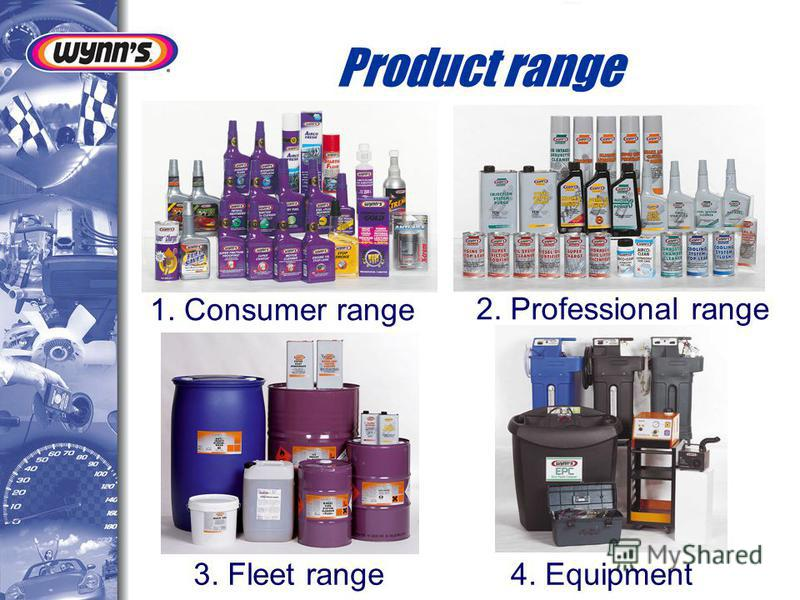 Product range 1. Consumer range 2. Professional range 3. Fleet range 4. Equipment
