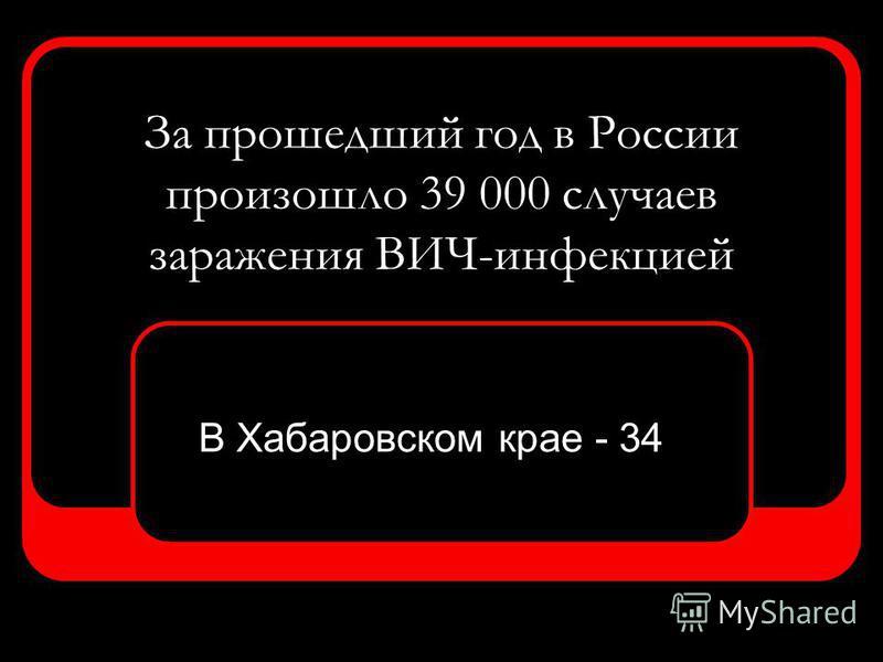 За прошедший год в России произошло 39 000 случаев заражения ВИЧ-инфекцией В Хабаровском крае - 34
