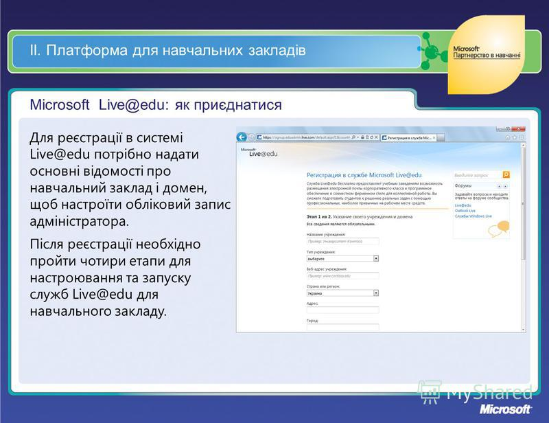 ІІ. Платформа для навчальних закладів Microsoft Live@edu: як приєднатися Для реєстрації в системі Live@edu потрібно надати основні відомості про навчальний заклад і домен, щоб настроїти обліковий запис адміністратора. Після реєстрації необхідно пройт
