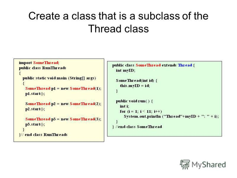 Create a class that is a subclass of the Thread class