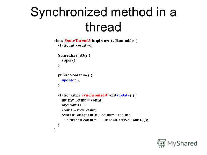 Synchronized method in a thread