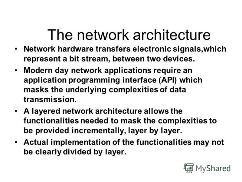 The network architecture Network hardware transfers electronic signals,which represent a bit stream, between two devices. Modern day network applications require an application programming interface (API) which masks the underlying complexities of da
