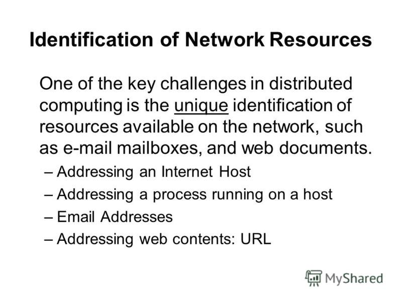 Identification of Network Resources One of the key challenges in distributed computing is the unique identification of resources available on the network, such as e-mail mailboxes, and web documents. –Addressing an Internet Host –Addressing a process