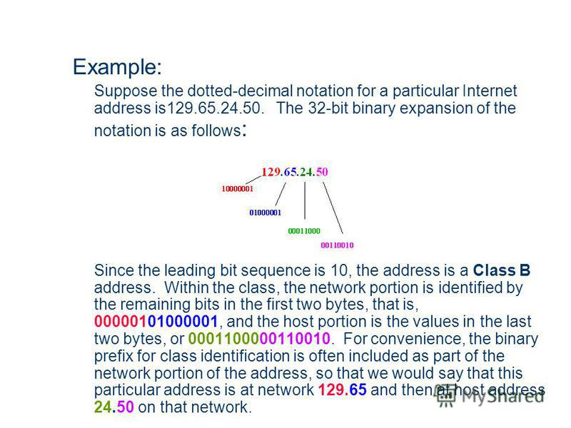Example: Suppose the dotted-decimal notation for a particular Internet address is129.65.24.50. The 32-bit binary expansion of the notation is as follows : Since the leading bit sequence is 10, the address is a Class B address. Within the class, the n