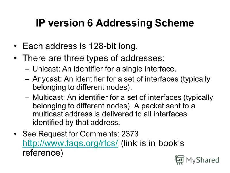 IP version 6 Addressing Scheme Each address is 128-bit long. There are three types of addresses: –Unicast: An identifier for a single interface. –Anycast: An identifier for a set of interfaces (typically belonging to different nodes). –Multicast: An
