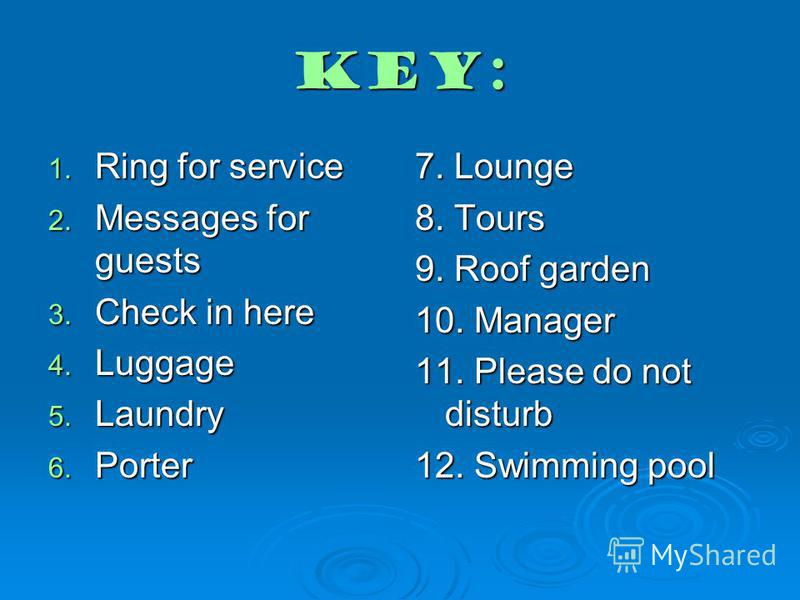 Key: 1. Ring for service 2. Messages for guests 3. Check in here 4. Luggage 5. Laundry 6. Porter 7. Lounge 8. Tours 9. Roof garden 10. Manager 11. Please do not disturb 12. Swimming pool