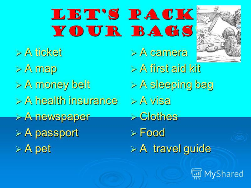 Lets pack your bags! A ticket A ticket A map A map A money belt A money belt A health insurance A health insurance A newspaper A newspaper A passport A passport A pet A pet A camera A camera A first aid kit A first aid kit A sleeping bag A sleeping b