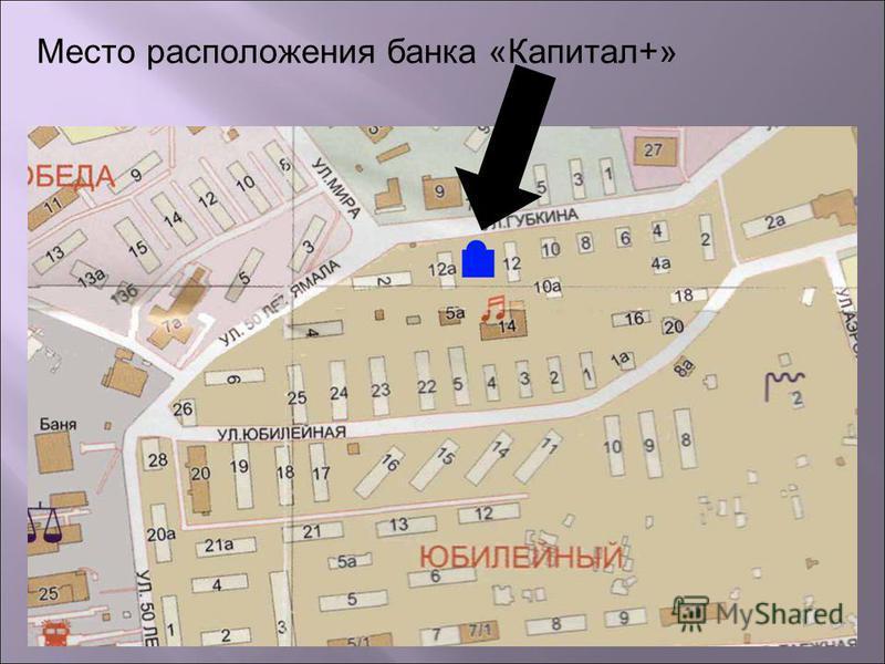 Место расположения банка «Капитал+»