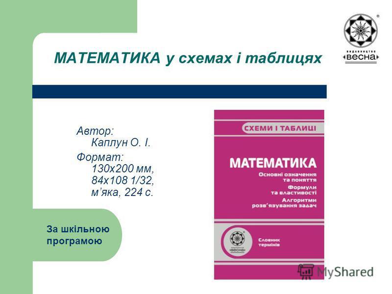 МАТЕМАТИКА у схемах і таблицях Автор: Каплун О. І. Формат: 130х200 мм, 84х108 1/32, мяка, 224 с. За шкільною програмою