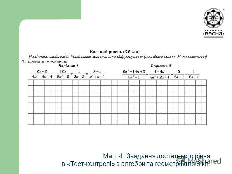 Мал. 4. Завдання достатнього рівня в «Тест-контролі» з алгебри та геометрії для 8 кл.