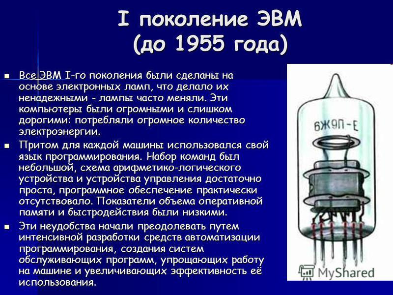 I поколение ЭВМ (до 1955 года) Все ЭВМ I-го поколения были сделаны на основе электронных ламп, что делало их ненадежными - лампы часто меняли. Эти компьютеры были огромными и слишком дорогими: потребляли огромное количество электроэнергии. Все ЭВМ I-