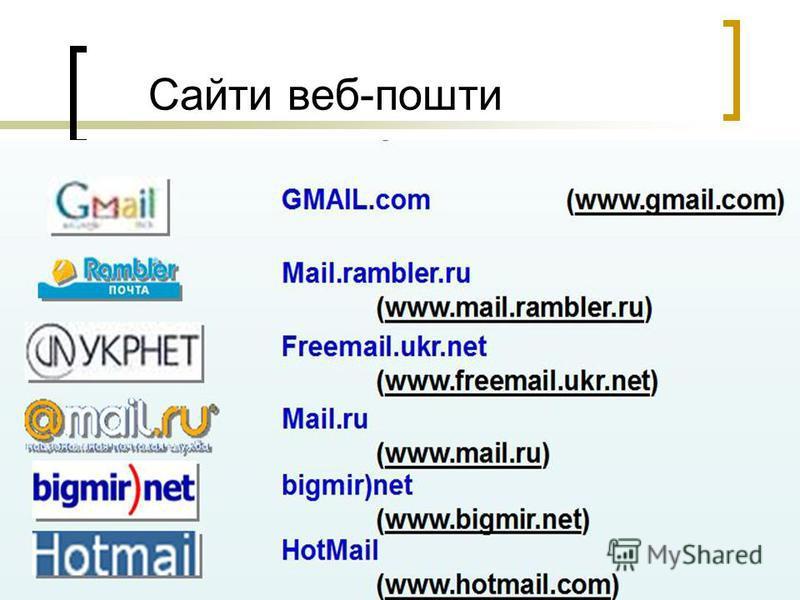 Сайти веб-пошти