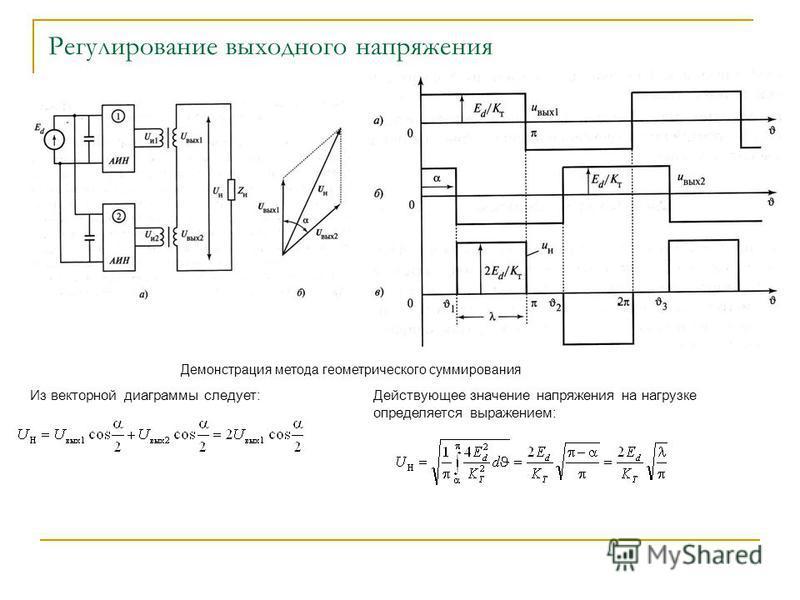 Регулирование выходного напряжения Демонстрация метода геометрического суммирования Из векторной диаграммы следует:Действующее значение напряжения на нагрузке определяется выражением: