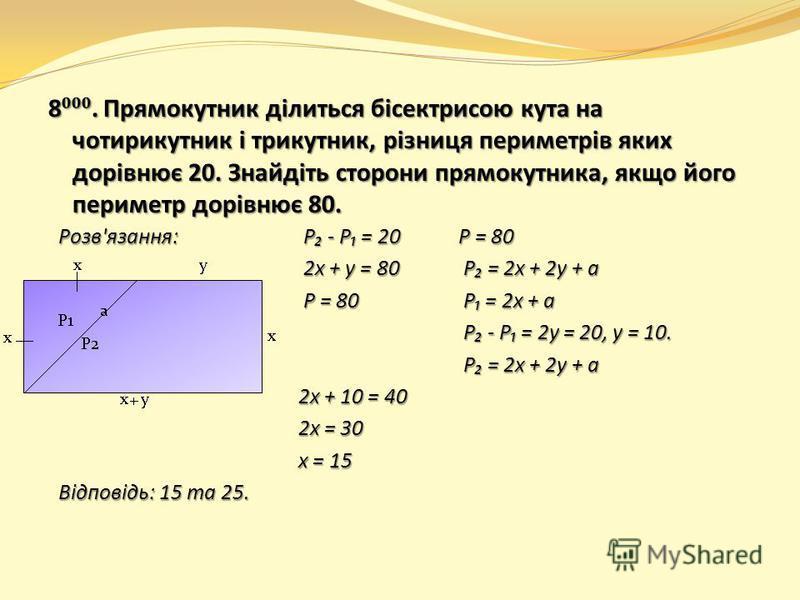 8. Прямокутник ділиться бісектрисою кута на чотирикутник і трикутник, різниця периметрів яких дорівнює 20. Знайдіть сторони прямокутника, якщо його периметр дорівнює 80. Розв'язання: P - P = 20Р = 80 2х + у = 80 P = 2х + 2у + а 2х + у = 80 P = 2х + 2