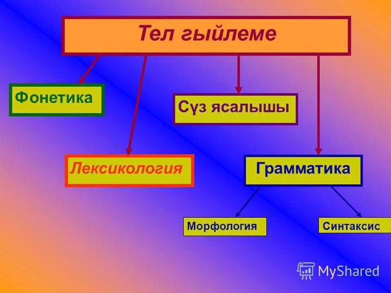 Тел гыйлеме Фонетика Лексикология Сүз ясалышы Грамматика МорфологияСинтаксис
