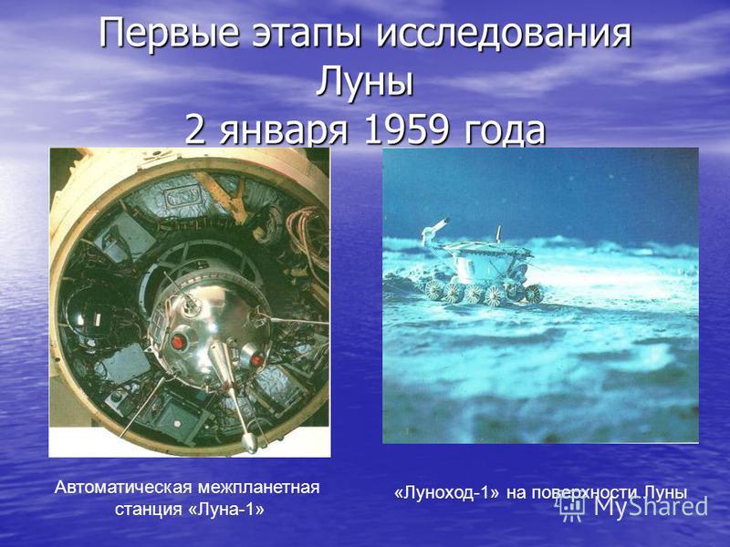 Первые этапы исследования Луны 2 января 1959 года Автоматическая межпланетная станция «Луна-1» «Луноход-1» на поверхности Луны
