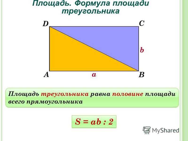 Площадь. Формула площади треугольника Площадь треугольника равна половине площади всего прямоугольника А В С D S = ab : 2 а b