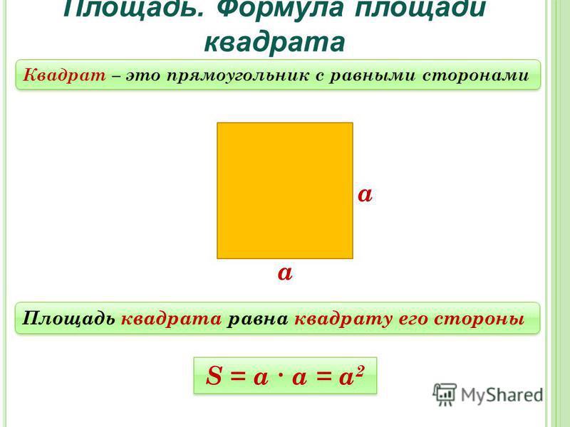Площадь. Формула площади квадрата Площадь квадрата равна квадрату его стороны S = a а = а 2 а а Квадрат – это прямоугольник с равными сторонами