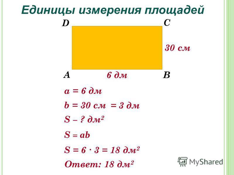 S ? дм 2 Единицы измерения площадей А В С D 6 дм 30 см а = 6 дм b = 30 см S = ab S = 6 3 = 18 дм 2 = 3 дм Ответ: 18 дм 2