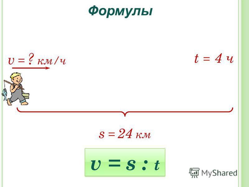 Формулы s = 24 км v = ? км/ч t = 4 ч v = s : t
