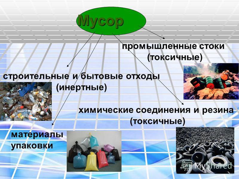Мусор строительные и бытовые отходы (инертные) промышленные стоки (токсичные) химические соединения и резина (токсичные) материалы упаковки