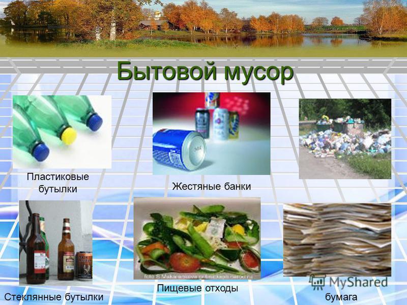 Бытовой мусор Пищевые отходы Жестяные банки бумага Стеклянные бутылки Пластиковые бутылки
