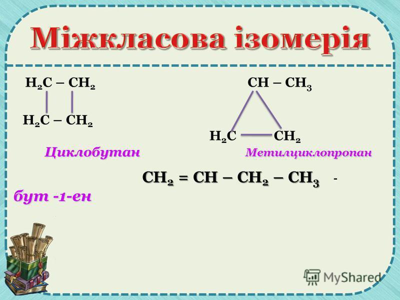 Н 2 С – СН 2 СН – СН 3 Н 2 С – СН 2 Н 2 С СН 2 Циклобутан Метилциклопропан Циклобутан Метилциклопропан СН 2 = СН – СН 2 – СН 3 бут -1-ен СН 2 = СН – СН 2 – СН 3 - бут -1-ен
