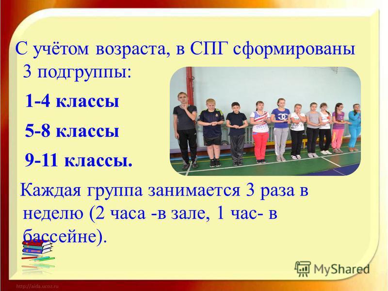 С учётом возраста, в СПГ сформированы 3 подгруппы: 1-4 классы 5-8 классы 9-11 классы. Каждая группа занимается 3 раза в неделю (2 часа -в зале, 1 час- в бассейне).