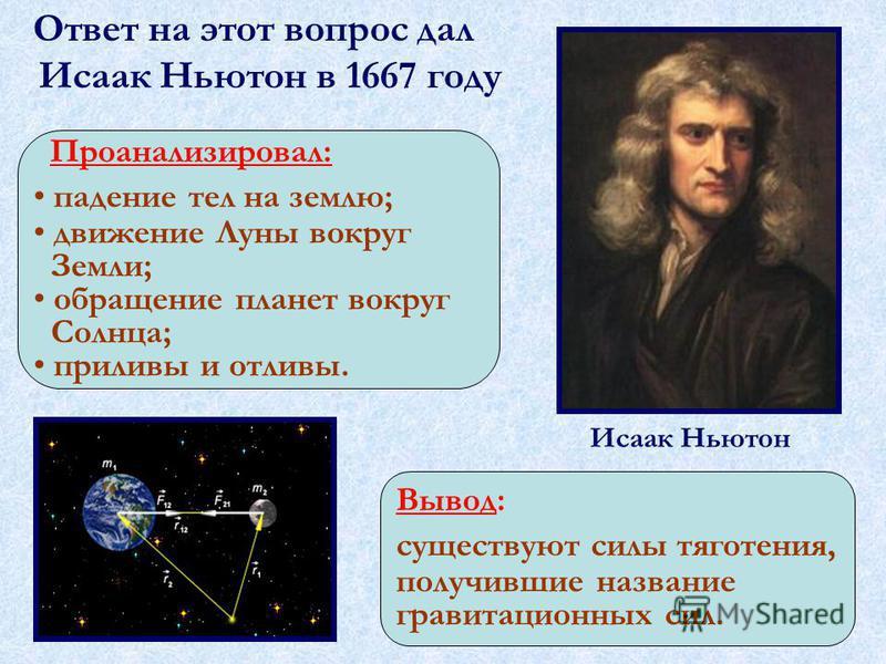 Ответ на этот вопрос дал Исаак Ньютон в 1667 году Исаак Ньютон Проанализировал: падение тел на землю; движение Луны вокруг Земли; обращение планет вокруг Солнца; приливы и отливы. Вывод: существуют силы тяготения, получившие название гравитационных с