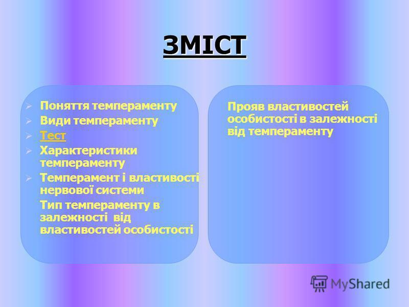 ЗМІСТ Поняття темпераменту Види темпераменту Тест Характеристики темпераменту Темперамент і властивості нервової системи Тип темпераменту в залежності від властивостей особистості Прояв властивостей особистості в залежності від темпераменту