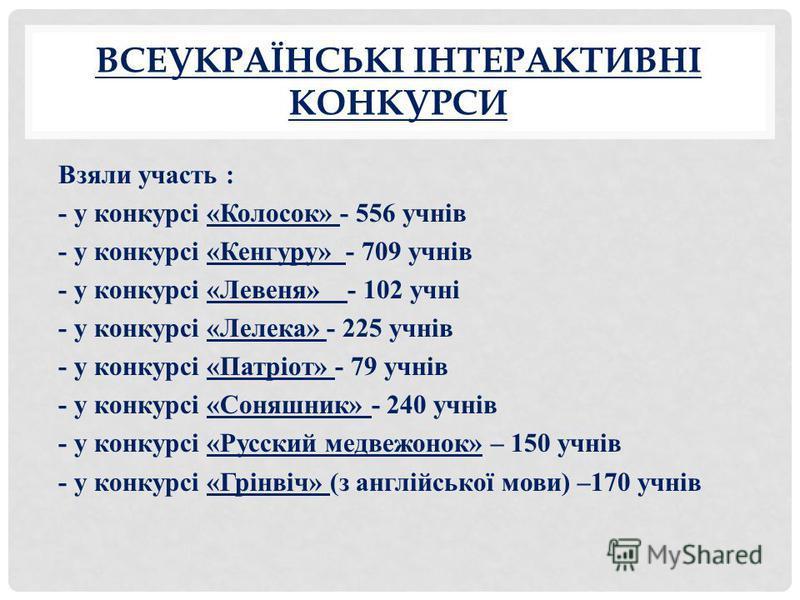 ВСЕУКРАЇНСЬКІ ІНТЕРАКТИВНІ КОНКУРСИ Взяли участь : - у конкурсі «Колосок» - 556 учнів - у конкурсі «Кенгуру» - 709 учнів - у конкурсі «Левеня» - 102 учні - у конкурсі «Лелека» - 225 учнів - у конкурсі «Патріот» - 79 учнів - у конкурсі «Соняшник» - 24