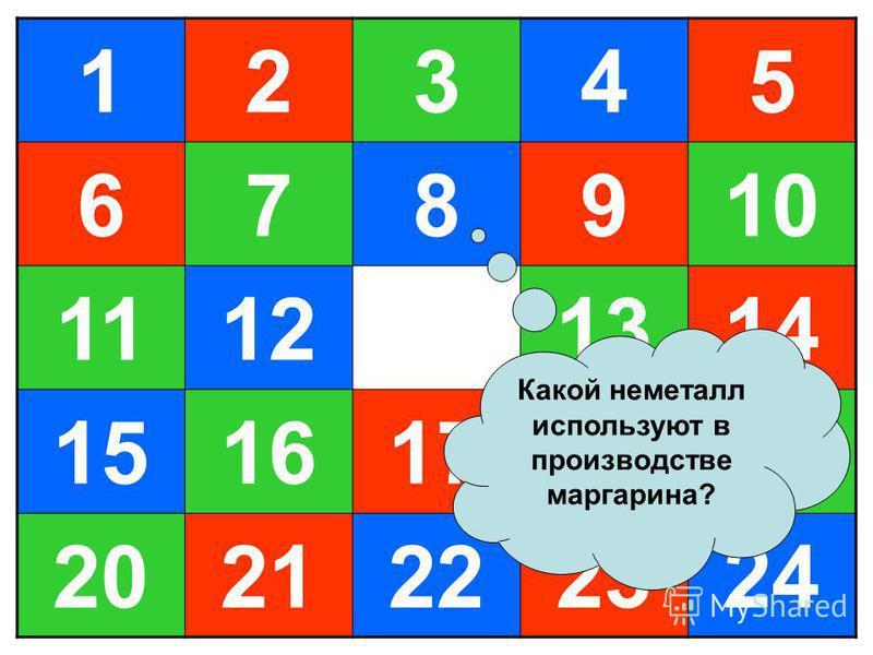 12345 678910 11121314 1516171819 2021222324 Какой неметалл используют в производстве маргарина?