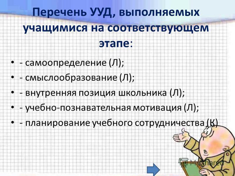 Перечень УУД, выполняемых учащимися на соответствующем этапе: - самоопределение (Л); - смыслообразование (Л); - внутренняя позиция школьника (Л); - учебно-познавательная мотивация (Л); - планирование учебного сотрудничества (К)
