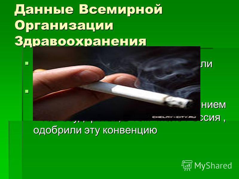 Данные Всемирной Организации Здравоохранения Табак может стать причиной гибели 10 миллионов людей ежегодно Табак может стать причиной гибели 10 миллионов людей ежегодно ВОЗ одобрила международную конвенцию о борьбе с табакокурением - 192 государства,